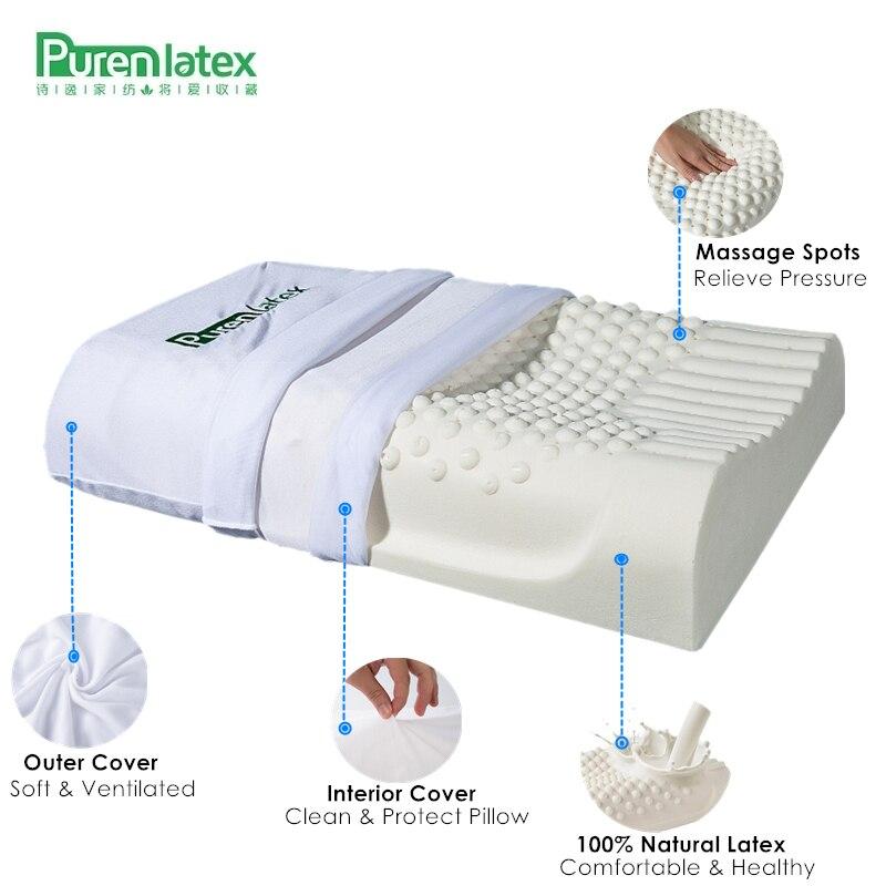 Purenplatinum-وسادة رقبة من اللاتكس الطبيعي النقي ، 60 × 40 تايلاند ، حماية الفقرات ، الرعاية الصحية ، العظام ، الارتداد البطيء