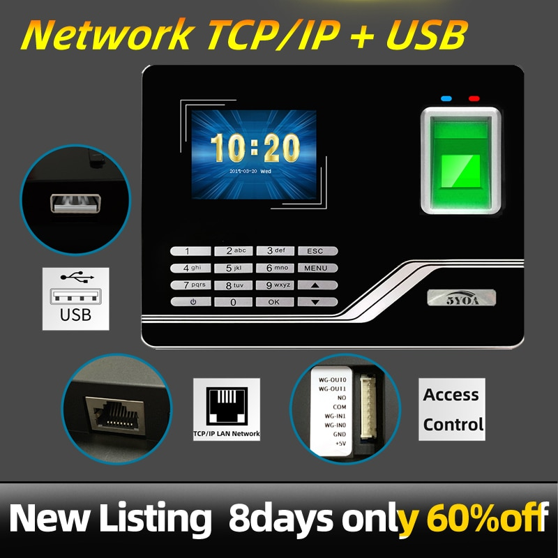 Sistema de asistencia huella dactilar TCPIP USB contraseña Control de acceso Oficina tiempo reloj empleado grabadora dispositivo biométrico