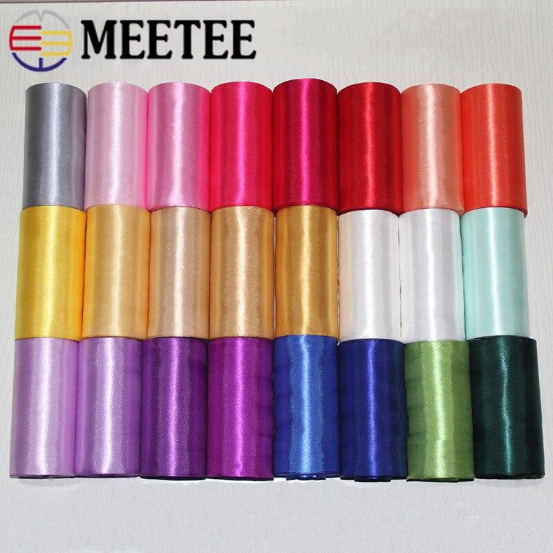 Meetee 1/2 Uds (1 pieza = 20 M) 15cm cinta satinada poliéster fiesta decoración cinta cincha DIY ola bandera boda lazo Material 46 colores