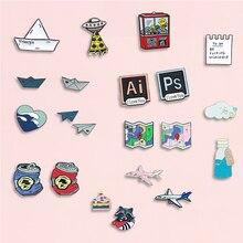 Bateau avion émail broche coeur carte peut Cloude broche Denim jean chemise sac jeu Animal bijoux cadeau pour amis Couple filles
