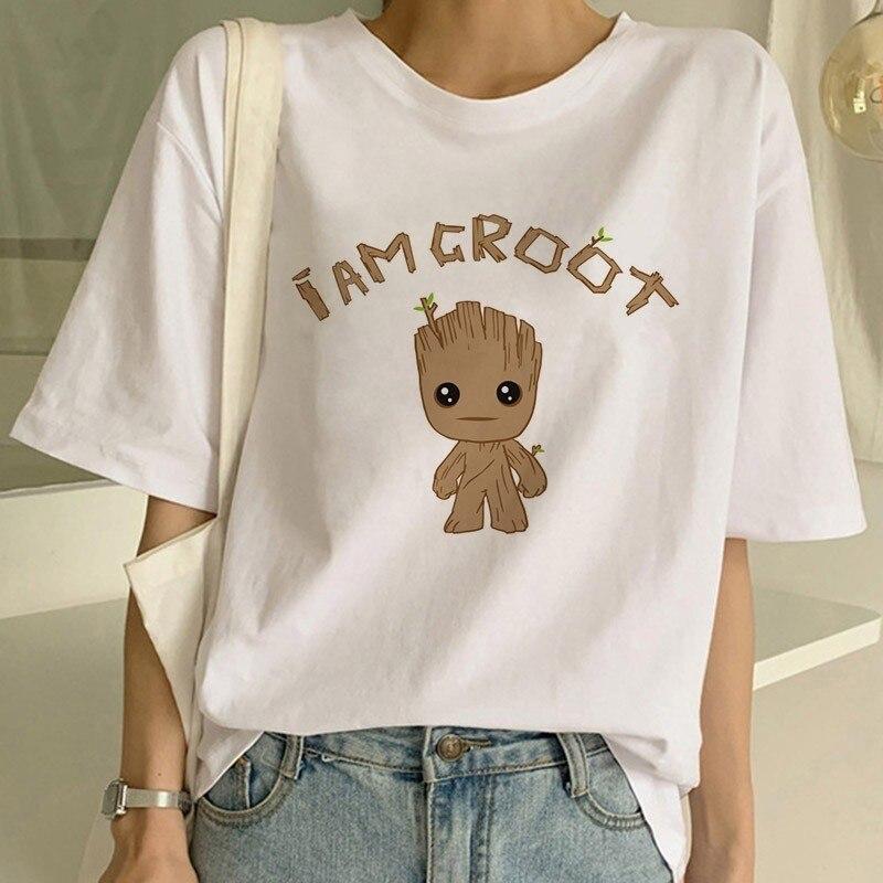 Groot Camisetas Mujer PORG X Planet Monarch cazarrecompensas superhéroe película tutores de la galaxia Lovely COOL divertida camiseta