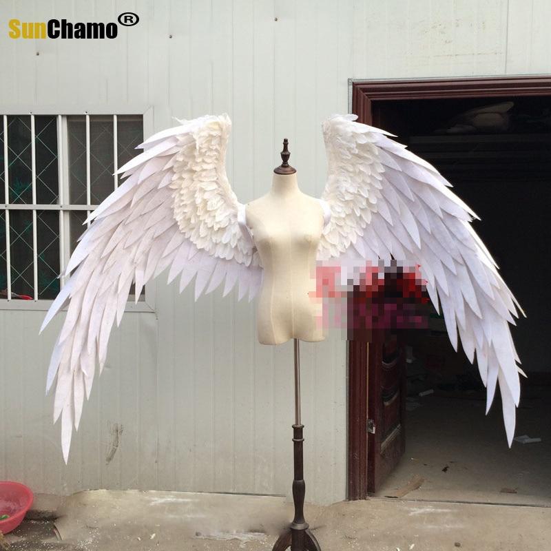 الإبداعية الأبيض أجنحة الملاك ريشة مرنة النمذجة ريشة مشاريع الكبار نموذج المشي تظهر تصوير الجداريات أجنحة الدعائم