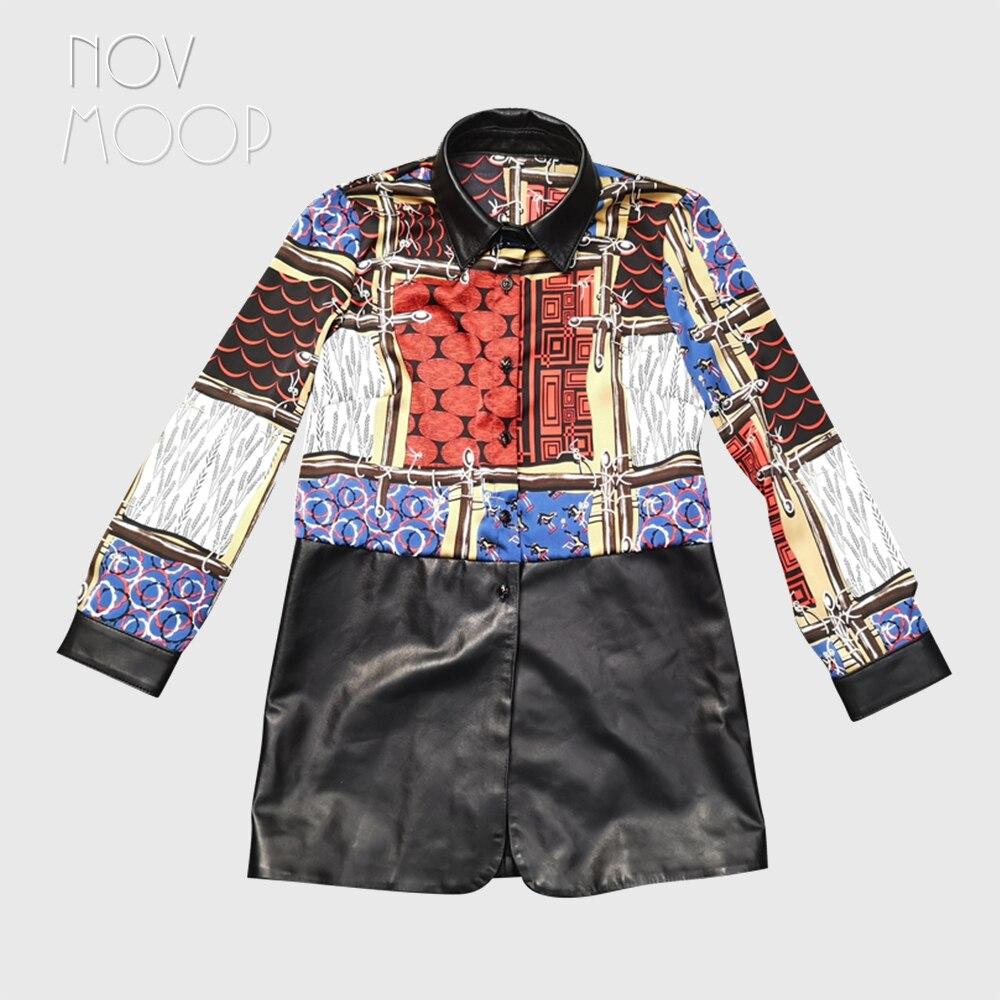 Vestido de piel de cordero de estilo impreso de Novmoop, vestido de piel auténtica con cuello doblado, camisa negra de fondo, tela de mujer LT3098