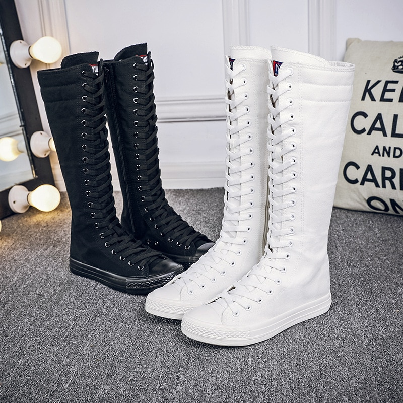 Large Size 43 Hidden Heels 4CM High Top Sneakers Women White Canvas Shoes Woman Sport Casual Shoes Women Black Shoes Flats