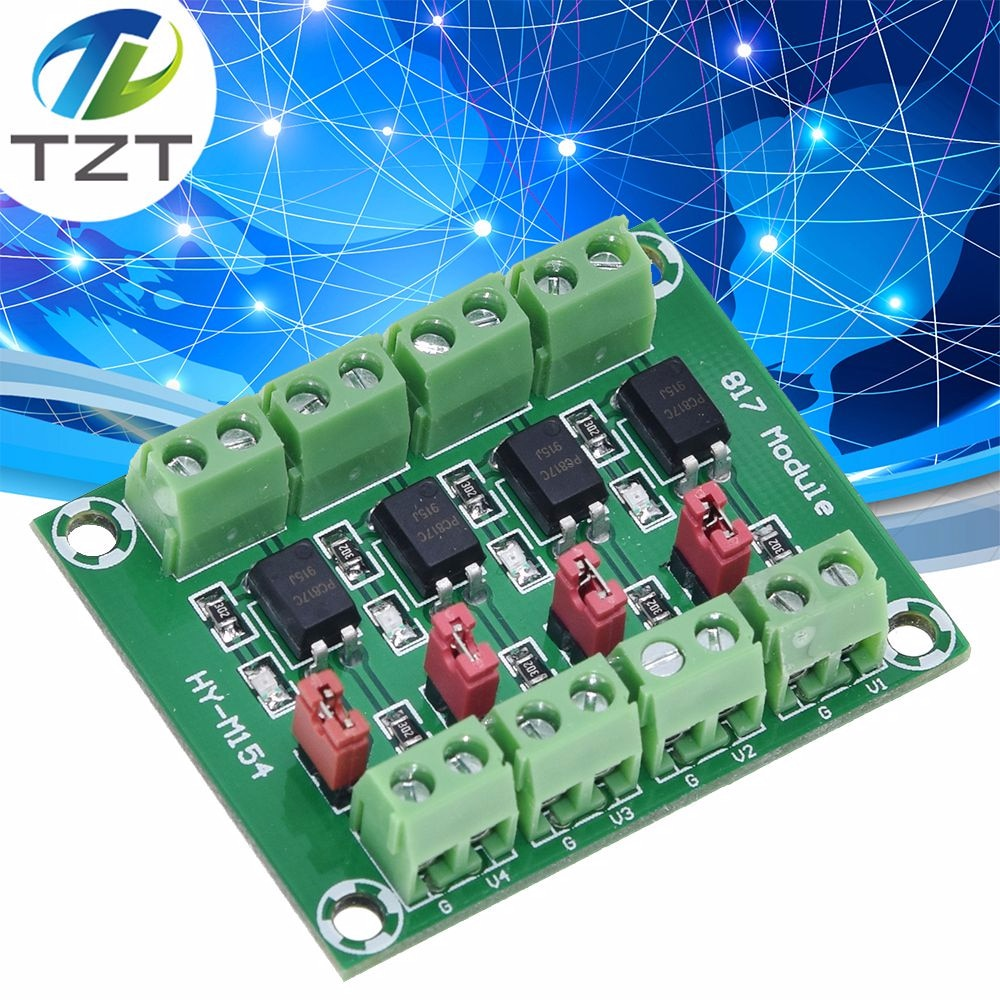 PC817 4 canales Optocoupler Placa de aislamiento convertidor de voltaje Módulo adaptador 3,6-30 V controlador fotoeléctrico módulo aislado PC 817