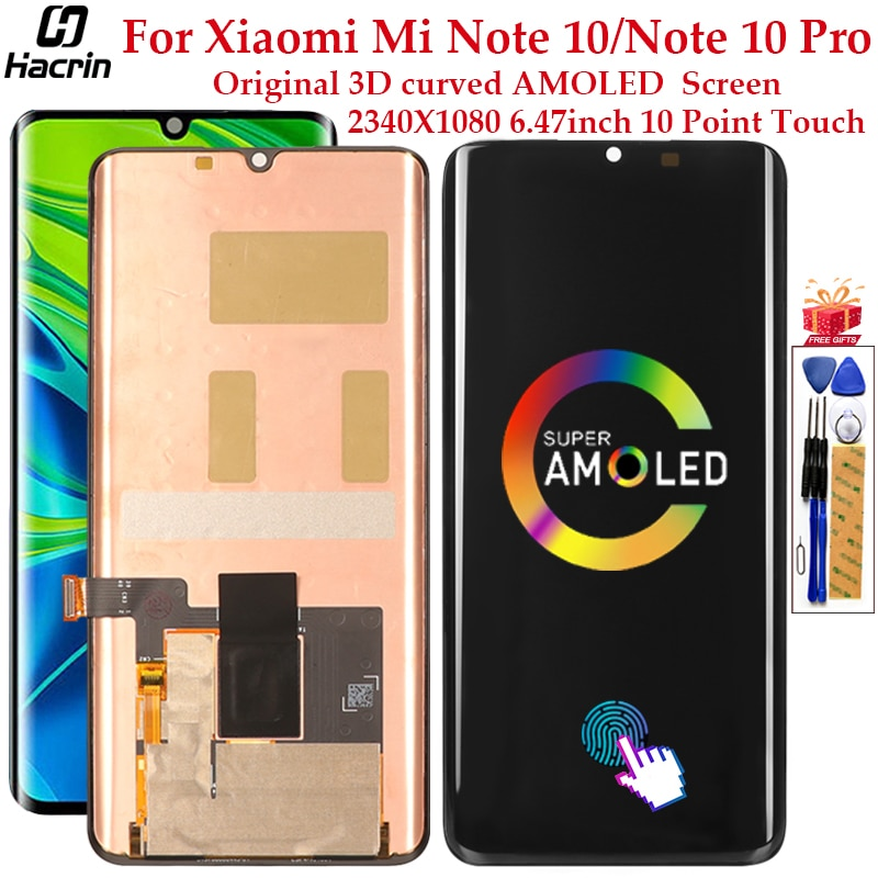 Original AMOLED Display For Xiaomi Mi Note 10 LCD Display Touch Screen Digitizer Assembly LCD For Xiaomi Mi Note 10 Pro Screen amoled lcd display for xiaomi mi 9t display with frame