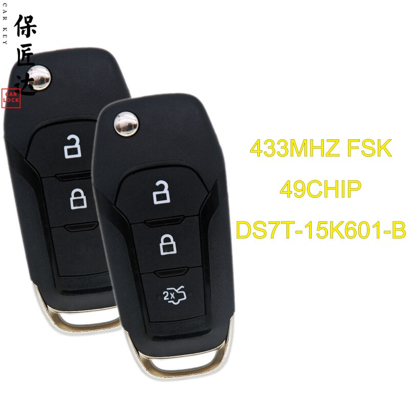 Baojiangdd chave do carro apto para ford range mondeo fueruis ranger f150 433 mhz id49 pcf7945