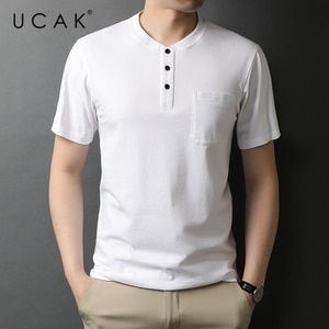 UCAK Brand Classic O-Neck Solid Color Button Short Sleeve T-Shirts Summer New Streetwear Casual Pure Cotton T Shirt Homme U5557