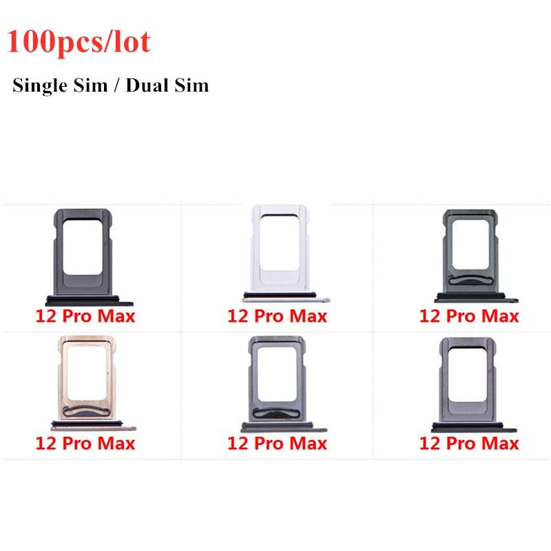 100pcs/Lot Dual Single SIM Card Tray Holder For iPhone 12 Pro Max SIM Card Slot Reader Socket Adapter Waterproof Rubber Ring