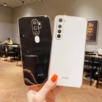 square plating silicone phone case for oppo a11x a32 a53 a5 a9 2020 a7 a8 a35 a55 a72 a91 a93s luxury mirror cover