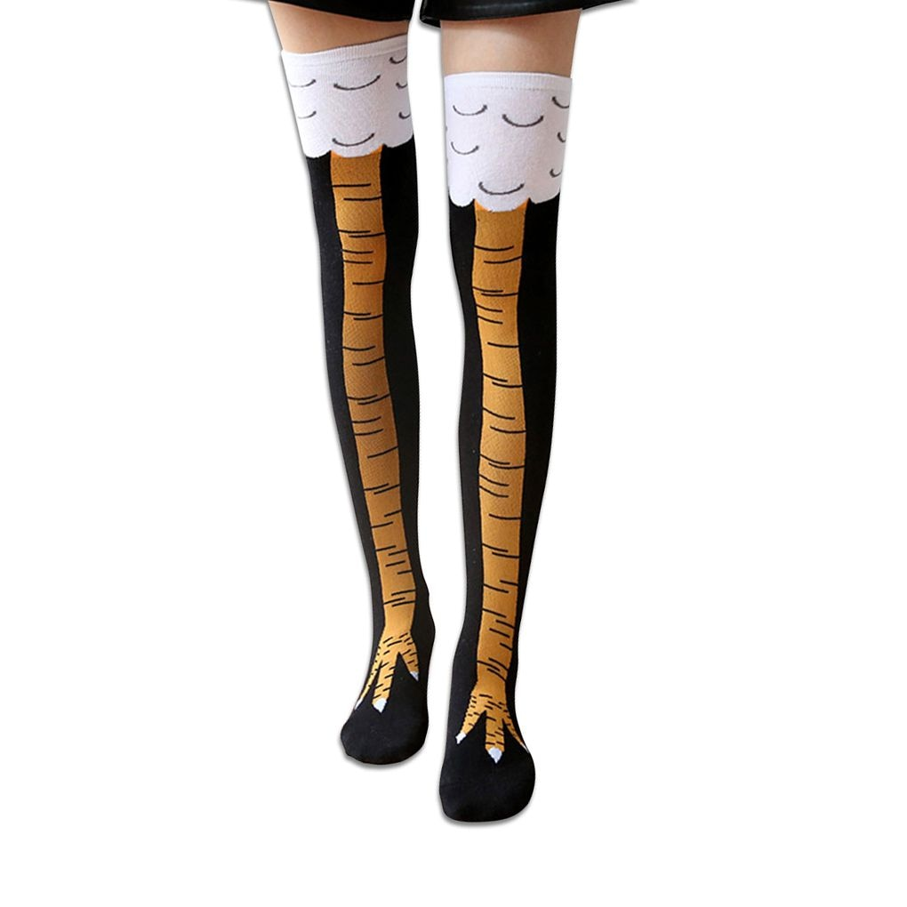 Women Chicken Cluck Legs Knee High Cotton Elastic Thigh High Stockings Fashion Casual Stockings New