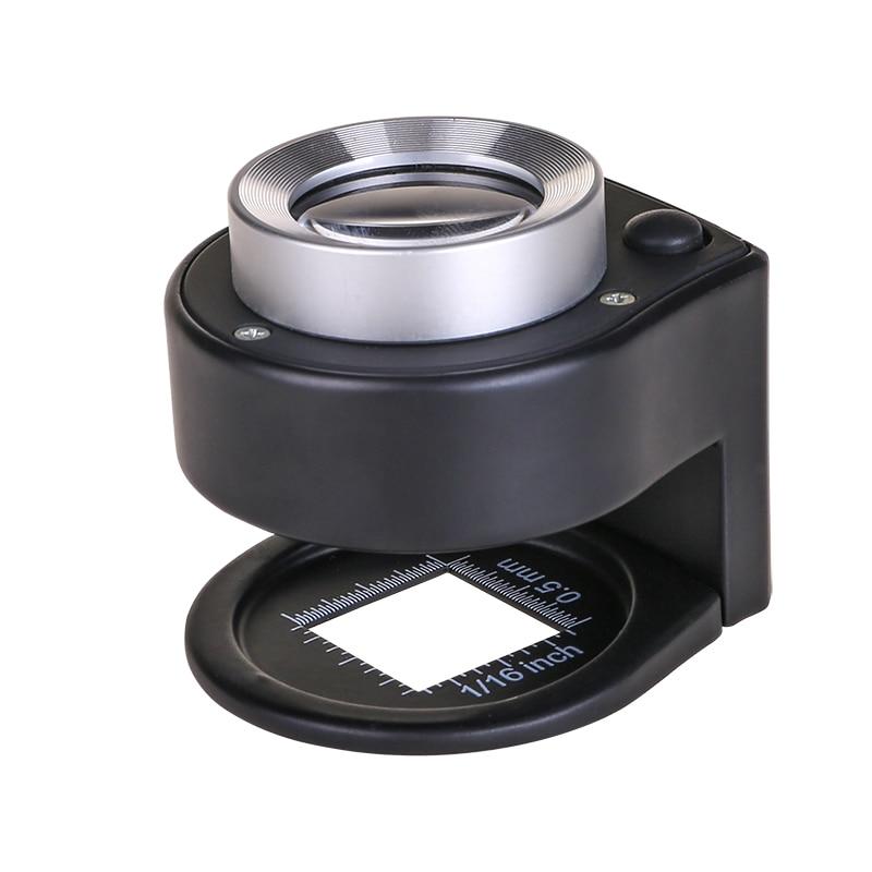 Lupa de lente de vidrio óptico 30x, probador de lino plegable de Metal completo, lupa de aumento con lupa de rosca de 6 lámparas led