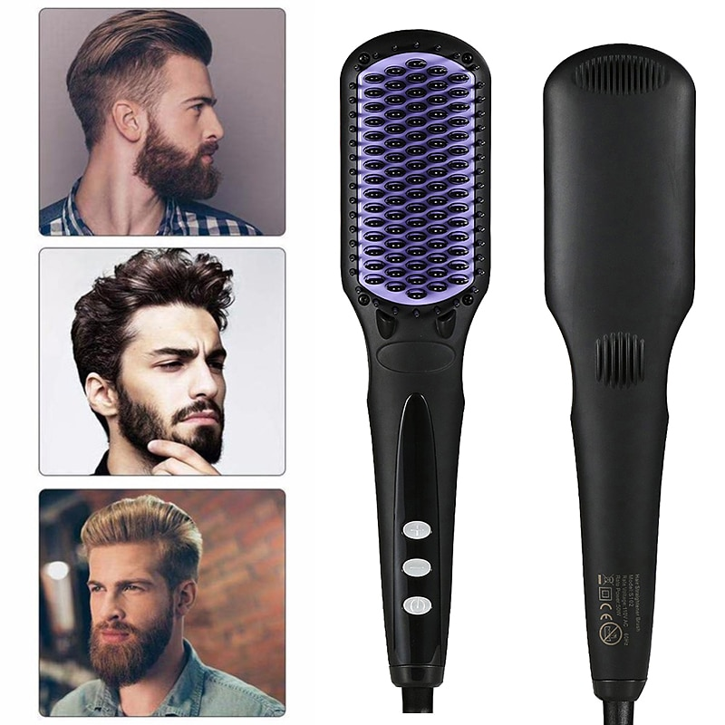 Electric Hair & Beard Straightening Brush Comb Anti-Scald Ceramic Iron Beard Comb Styling Heating Straightener Comb Hair Brushes недорого
