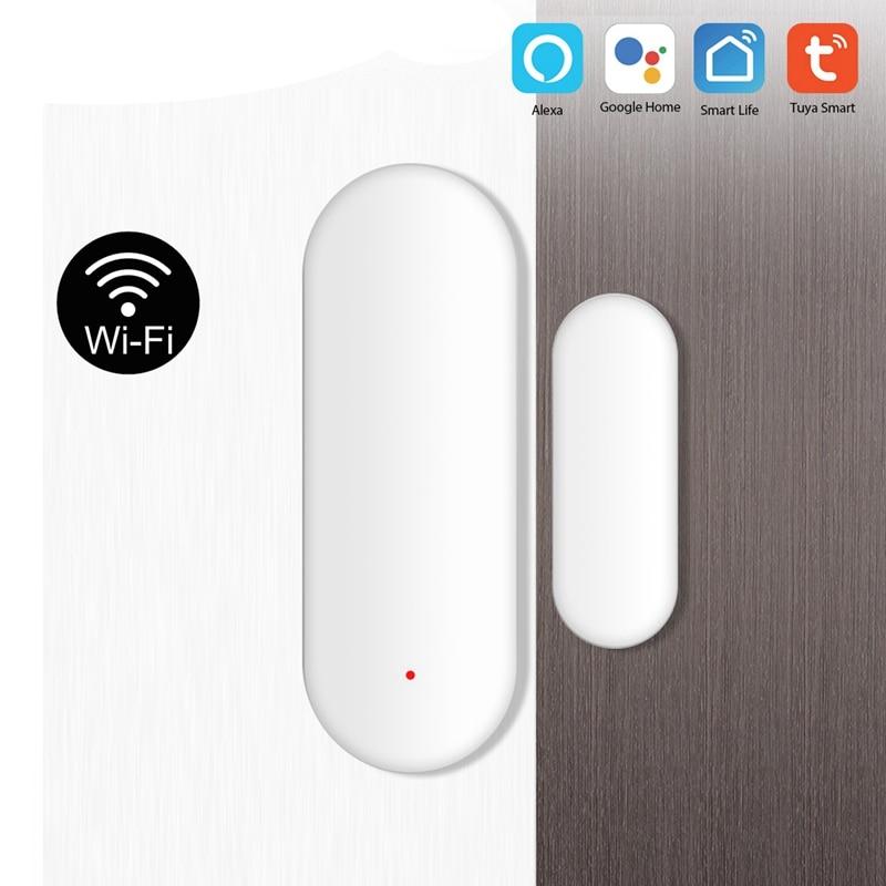 Detectores Puerta Abierta/cerrada con Sensor WiFi inteligente AMS-Tuya Compatible con la aplicación Alexa Google Home IFTTT Tuya