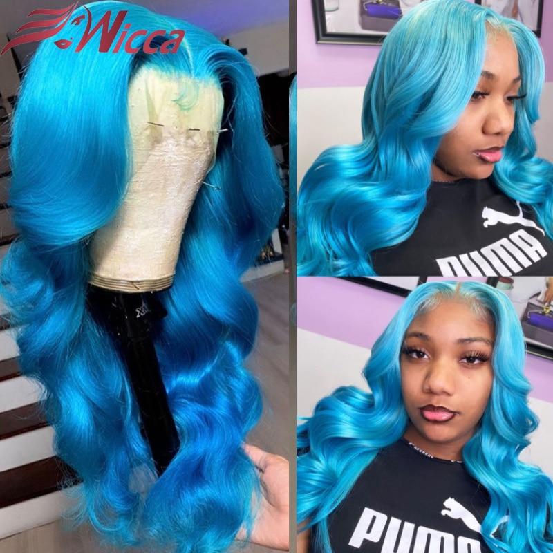 Light Blue Human Hair Wigs For Women Brazilian Remy Transparent Lace Wigs Long Body Wavy Lace Front Wig 180 Density Wigs