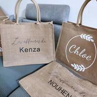 personalized burlap tote bag bridesmaid gift bag custom name bag beach jute tote wedding favor gift for her