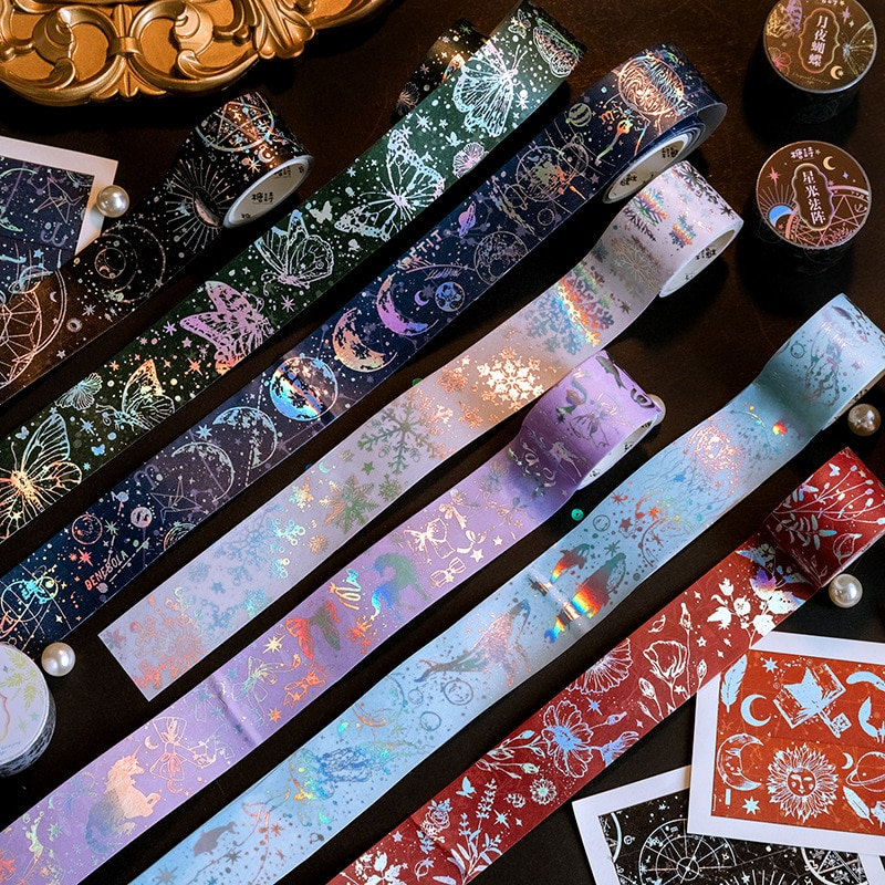 8PCS/LOT Shining Stars Dreams Milky Way High Quality Masking Tapes 30mm*3M Cool Floral World Washi Tape Sticker Gift