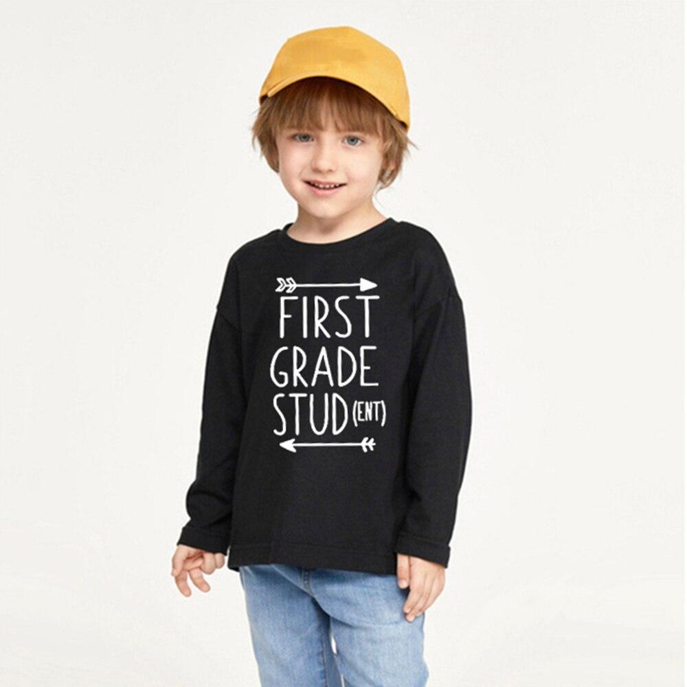 Camiseta de estudiante de primer grado, camisetas para niños y niñas, traje de primer día de escuela, camisetas divertidas de manga larga para niños, camisetas con estampado de letras