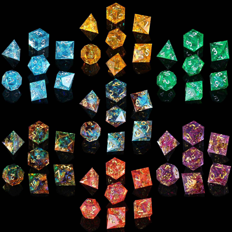 Набор игральные кости DND из полимерных кубиков ручной работы с острыми краями для ролевых игр