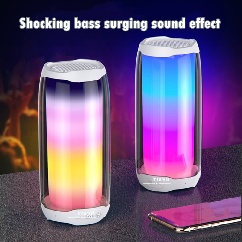 Full screen dynamic night light Bluetooth sound convenient seven color light surround sound wireless speaker USB TF Card MP3 pla enlarge