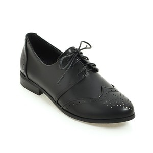All Melody New Arrival Design Brogue Women Shoes Spring Summer England Style Black Beige Gray Lace-up Solid Career OL Fretwork
