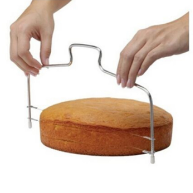 Cortador de pan ajustable de doble rebanada nivelador duradero de acero inoxidable accesorios para hornear pasteles Gadget