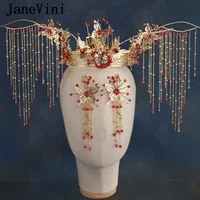 janevini luxury chinese butterfly beaded bridal crowns with earrings gold hairpins tassels coronet sets wedding hair accessories