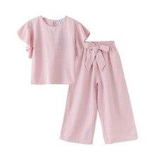 Tenue pour filles   Tenue rayée pour enfants, ensemble deux pièces, chemise pour bébés enfants et pantalon ample, vêtements à nœud pour enfants, nouvelle collection 2020