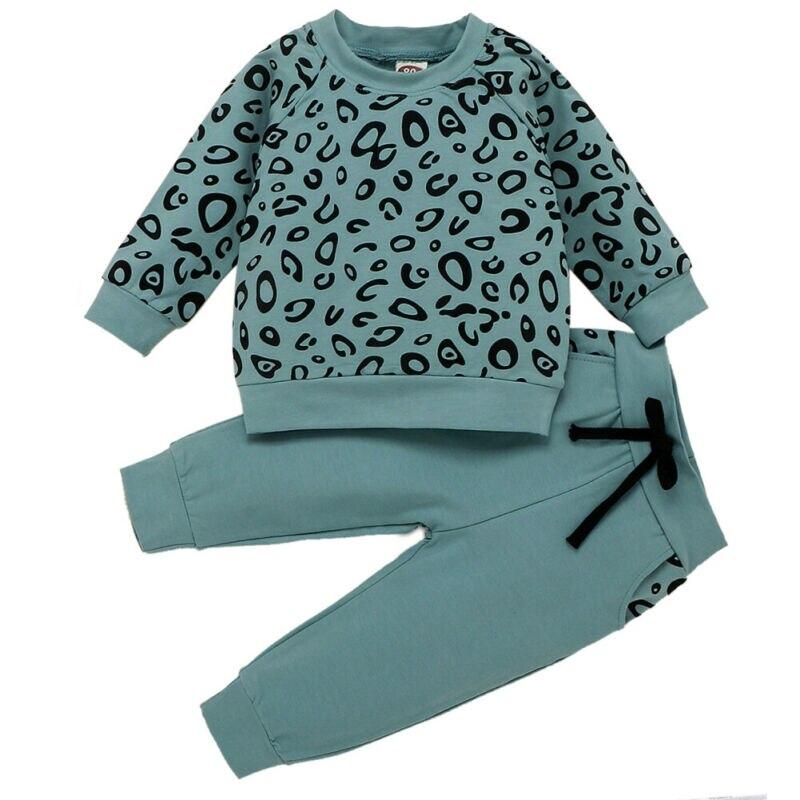 AU Leoparden Säuglings Baby Mädchen Junge 9 M-4 T Winter Kleidung Tops Sweatshirt + Lange Hosen Outfit