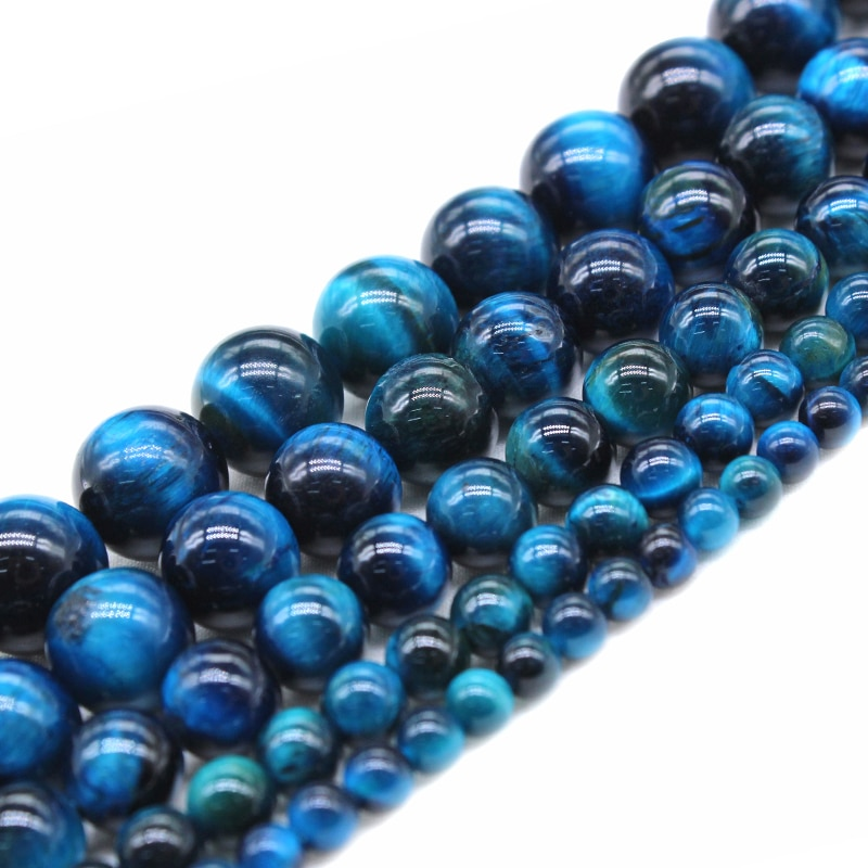 Wholesale AAA+ Natural Blue Tiger Eye Gem Stone Round Beads For Jewelry Making DIY Bracelet Necklace 4/6/8/10/12 mm Strand 15