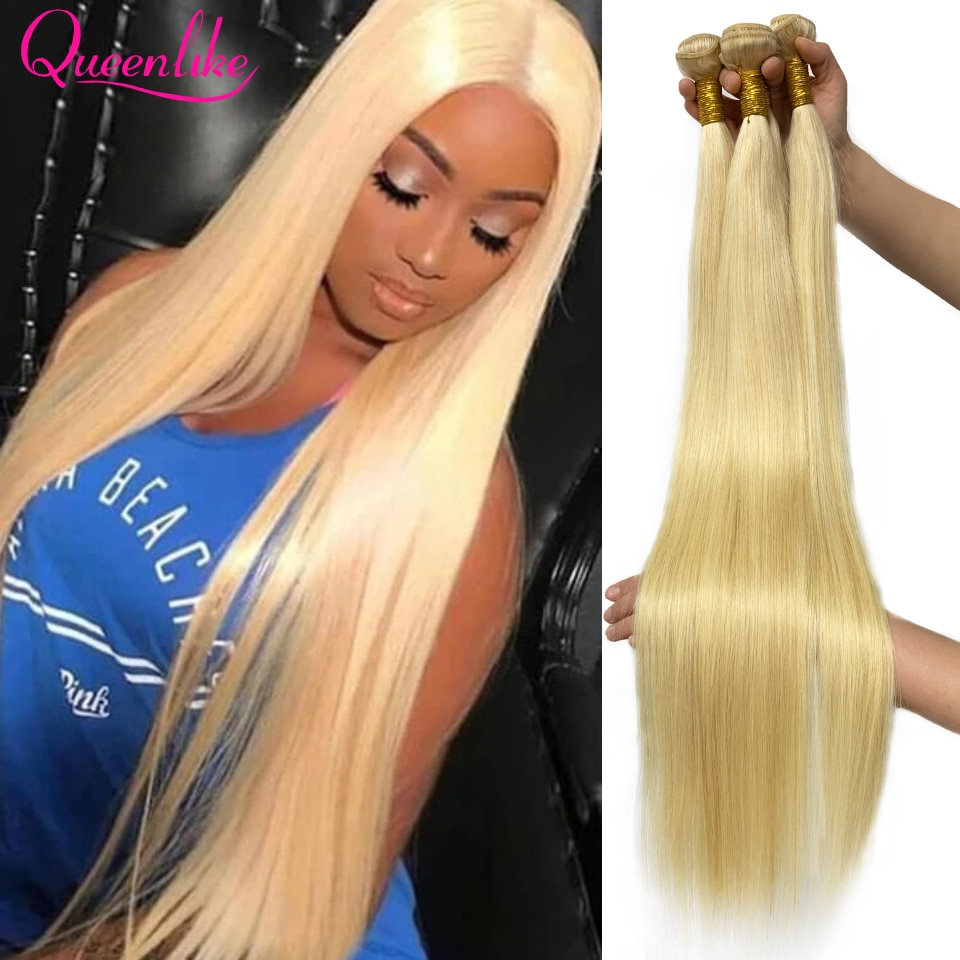 Blonde 613 Color 28 30 32 34 36 38 40 Inch Long Brazilian Straight Hair Bundle Human Hair Remy Brazi