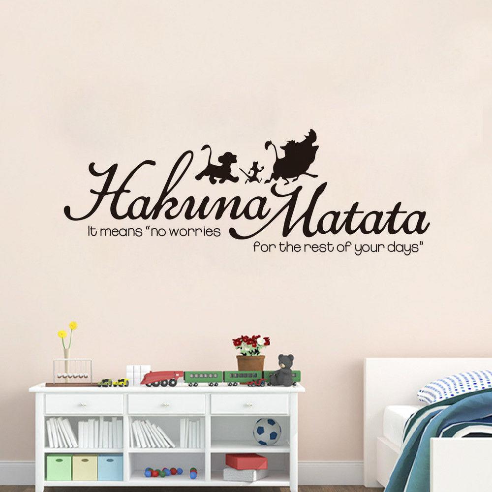 Disney Lion king hakuna matata boys girls Bedroom Vinyl Decal Wall Stickers for kids rooms bedroom accessories Art Decor Poster