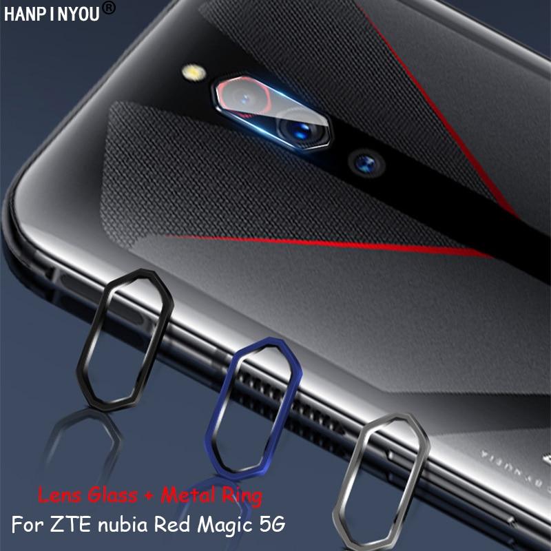"Para ZTE nubia Red Magic 5G 6,65 ""cámara trasera cubierta de anillo circular de Metal + suave Ultra lente delgada película protectora de vidrio templado"