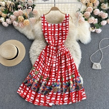 Yitimoky Plaid Print High Waist Tank Dresses Women Sleeveless O-Neck A-Line Red Clothing 2021 Summer