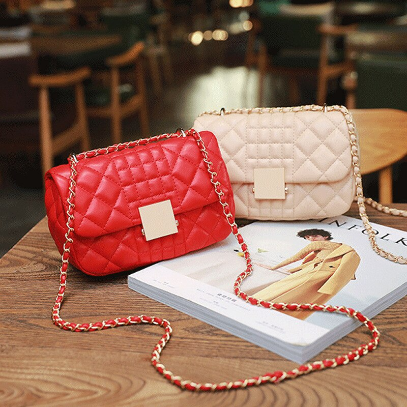Ladies Messenger Bag Chain Luxury female bagPU Leather Shoulder Fashion Small Flip  women crossbody bag