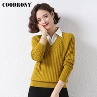 coodrony brand autumn winter knitted female v neck office sweaters elegant casual fashion womens slim clothing w1424