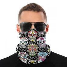 Meksykańska czaszka szalik półmaska maska Halloween szyi cieplej kominiarka bandany pyłoszczelna pałąk kolarstwo piesze wycieczki
