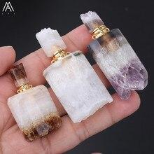 Mode Frauen Kleine Natürliche Citrines Quarz Unregelmäßigen Amethysten Quarz Parfüm Flaschen Gold Kupfer Kette Halskette EF-DG-72AMFE