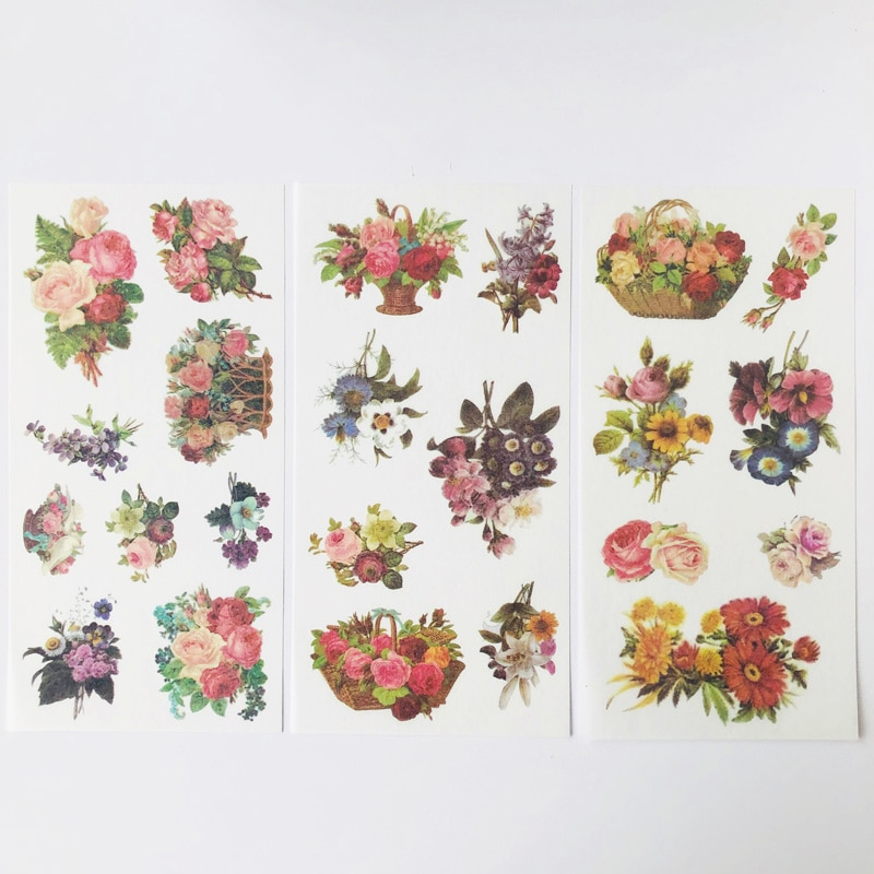 3 Sheets /Pack Spring Flowers Diary Decorative Stickers DIY Album Party Decor