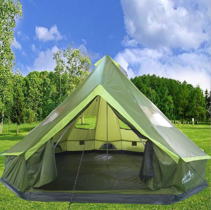 Tienda Tipi de 5M para la familia India, carpa con campana impermeable, Mongolia, Yurt, Camping, Safari, Oxford, lona, 10 personas para acampar al aire libre