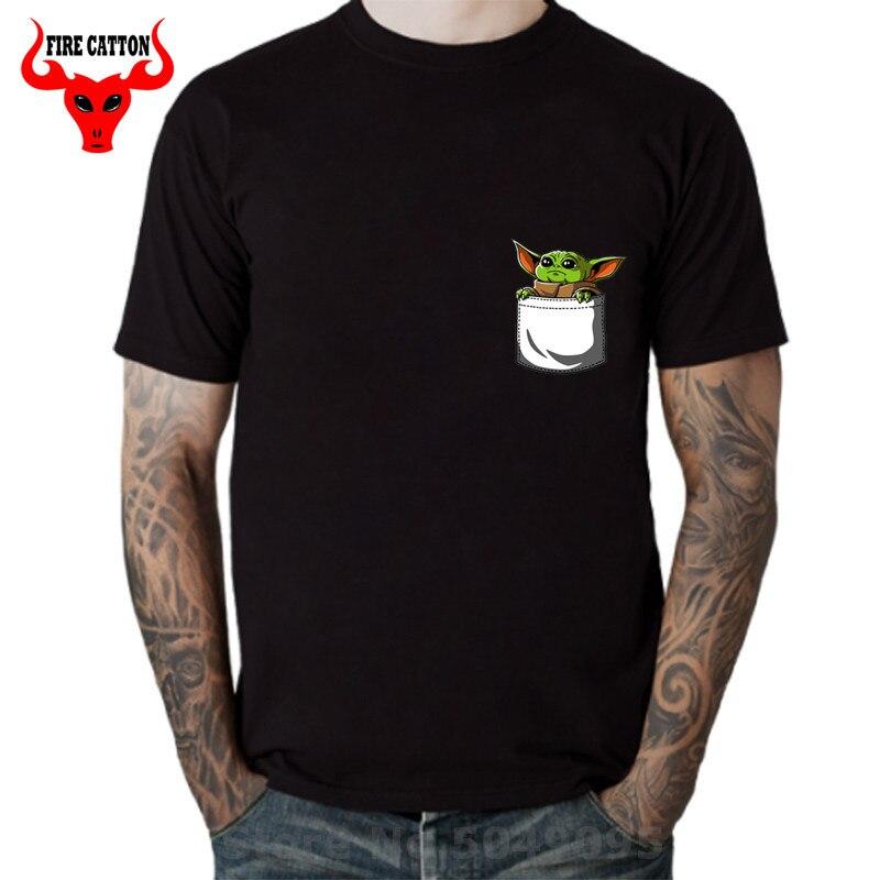 Милые детские футболки с карманом Yoda, Мужская футболка с Йодой «Звездный мастер», футболка с Йодой «джедай-войнами», лидер продаж, хлопковая футболка, новая мода, vestido