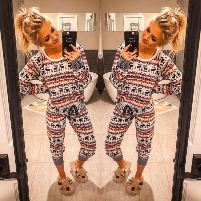 Conjunto de pijamas para dormir de Navidad con estampado de renos de talla grande para mujer