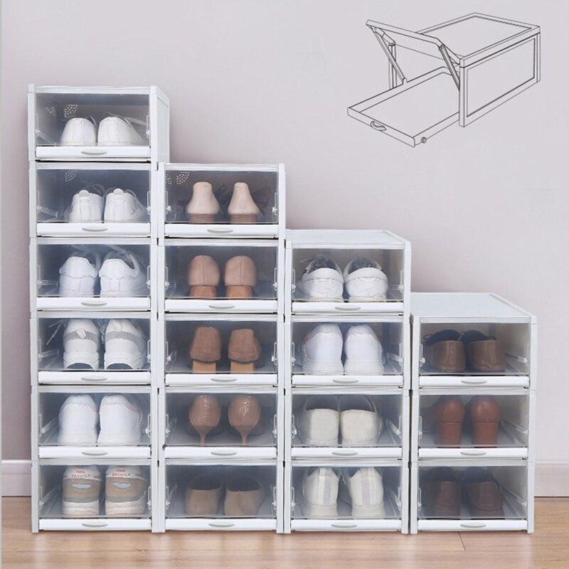 2PCS/lot Shoes Boxes Stackable Shoebox Shoes Rack Plastic Shoe Organizer for High Heels Sneakers Storage Shoes Drawers