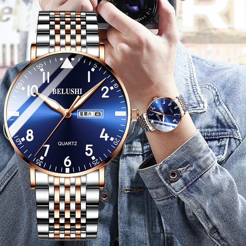 BELUSHI Fashion New Mens Watches Top Luxury Brand Waterproof Quartz Watch Men Casual Stainless Steel Business Date Wrist Watch new men watches top brand luxury 50m waterproof ultra thin date clock male steel strap casual quartz watch men wrist sport watch