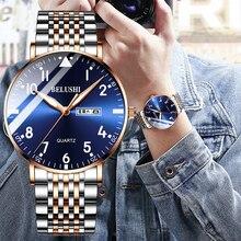BELUSHI-montre à Quartz pour hommes, à la mode, marque de luxe, étanche, en acier inoxydable, pour Business, nouvelle collection, décontracté