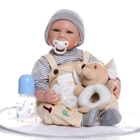 21 inch 52cm born reborn doll toy special gray stripe doll baby simulation doll reborn volume wool strap for baby birthday gift