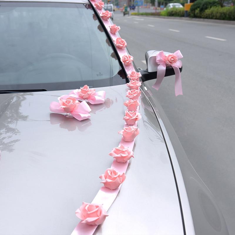 Pink Red Rose Flower Whole Set for Wedding Car Decoration Door Handles Rearview Mirror Engine Hood Car Logo Flower Decorations