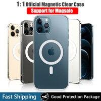 Прозрачный Магнитный чехол для iPhone 12 11 Pro Max Mini 7 8 Plus XS Max XR Magsafing с поддержкой беспроводной зарядки