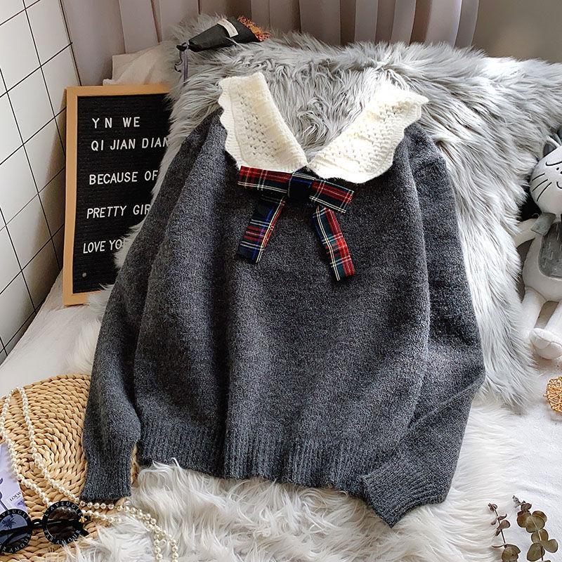 E-BAIHUI femmes automne hiver chandails nouvelle couleur unie Kawaii Preppy Style chandail chemise décontracté nœud cou pull femmes pulls