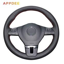 Capa de volante de couro preto costurado à mão para volkswagen vw golf tiguan passat b7 cc touran magotan sagitar